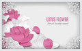 Oriental floral background with pink lotus flowers and ornate cut frame on white pattern backdrop for greeting card Royalty Free Stock Photo