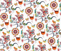 Oriental Floral and Birds Pattern Royalty Free Stock Photo
