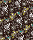 Oriental Floral and Birds Pattern Royalty Free Stock Images