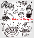 Oriental foods vector set.