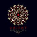 Oriental geometric design asia pattern logo template.