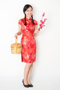 Oriental girl in red qipao holding gift basket young asian woman traditional dress and plum blossom smiling celebrating chinese Stock Images