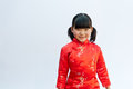 Oriental girl wearing cheongsam Royalty Free Stock Photo