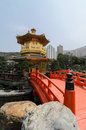 The oriental gold pavilion of absolute perfection in Nan Lian Garden Royalty Free Stock Photo