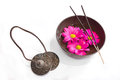 Oriental health treatment tingsha tibetan bowl and incense image of several objects used in buddhist alternative therapies bells Royalty Free Stock Image