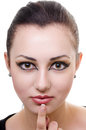 Oriental make up wild hypnosis female portrait on white Stock Images