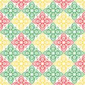 Red Green and Yellow Floral Ornamental Oriental Beautiful Royal Vintage Spring Abstract Seamless Pattern Texture Wallpaper Royalty Free Stock Photo