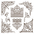 Oriental ornaments borders decorative elements with corners curls Arab and Indian patterns and frame
