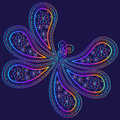 Oriental paisley pattern. Ornament in the form of a butterfly in multi-colored psychedelic colors on a dark background Royalty Free Stock Photo