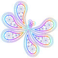 Oriental paisley pattern. Ornament in the form of a butterfly in multi-colored psychedelic colors on a white background. Stylized Royalty Free Stock Photo