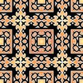 Oriental pattern beautiful seamless orange background with Stock Photos