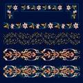 Oriental pattern border set. Samrkand, modern, art deco style. Vector seamless pattern.
