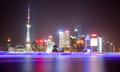 The oriental pearl tower at night in shanghai huangpu river Stock Photography