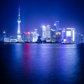 The oriental pearl tower at night in shanghai huangpu river Royalty Free Stock Photos