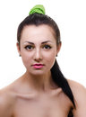 Oriental portrait gentle a make up in style with the ponytail hairstyle Royalty Free Stock Photos