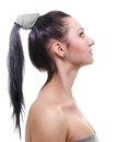 Oriental portrait gentle a make up in style with the ponytail hairstyle Royalty Free Stock Images