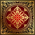 Oriental red gold rug vector illustration of Stock Photo