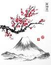 Oriental sakura cherry tree in blossom and Fujiyama mountain on white background. Contains hieroglyphs - zen, freedom