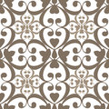 Oriental seamless pattern damask arabesque and floral brown elem