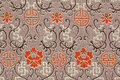 Oriental Silk Fabric Pattern Stock Images