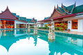 Oriental style architecture in thailand at sunrise Royalty Free Stock Images