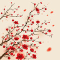 Oriental style painting plum blossom in spring ized symbolize growth and success Royalty Free Stock Photo