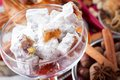 Oriental sweets turkish delight in a glass bowl Stock Image