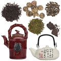 Oriental tea objects isolated for cutout chinese japanese teapots and different types of Royalty Free Stock Photography