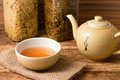 Oriental tea service on jute cloth and wooden board Royalty Free Stock Photo