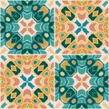 Oriental traditional floral tile ornament, Moroccan seamless pattern, vector illustration. surface pattern design for