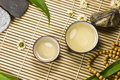 Oriental traditional tea ceremony still life. Stock Photo