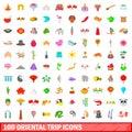 100 oriental trip icons set, cartoon style
