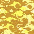 oriental withe cloud ornament seamless with golden tone background Royalty Free Stock Photo