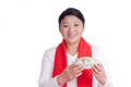 Oriental woman hold a plate dumplings chinese of Royalty Free Stock Image