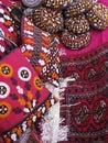 Orientalischer Basar wendet - Beutel, Wolldecken und Skull-cap ein Stockfotografie