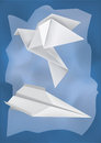 Origami airplane dove vector illustration of folded paper models and on the rumpled paper background Royalty Free Stock Images