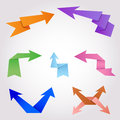 Origami arrows made of folding paper colorful Royalty Free Stock Images