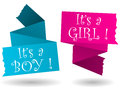 Origami banner boy girl announcement with drop shadow in pink and blue with baby or annoucement Stock Images