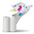 Origami bird with ink unwinding paper illustration of folded dove splashes of a roll of concept for presenting color printing Royalty Free Stock Photo