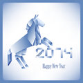 Origami blue horse card for new year in origamy style with his simbol Stock Photography