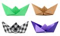 Origami boats on white background Royalty Free Stock Photo