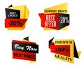 Origami business labels set of depicting lowest price or premium quality best offer buy now and a best choice in yellow black and Royalty Free Stock Photo
