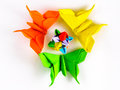 Origami butterflies flower bud Royalty Free Stock Photo