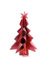 Origami christmas tree made from red paper shot over white background Stock Images