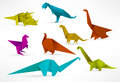 Origami dinosaurs colorful vector illustration of Stock Photography