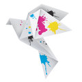 Origami dove with splashes of ink vector illustration folded paper concept for presenting color printing press Stock Image