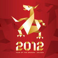 Origami Dragon, 2012 Year - Red&Gold Stock Photography