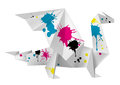 Origami dragon with splashes of ink vector illustration folded paper concept for presenting color printing press Stock Photos