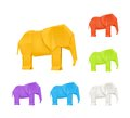 Origami elephants, set Stock Image