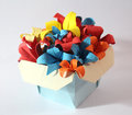 Origami flower colourful paper flowers in a paper made box Royalty Free Stock Photo